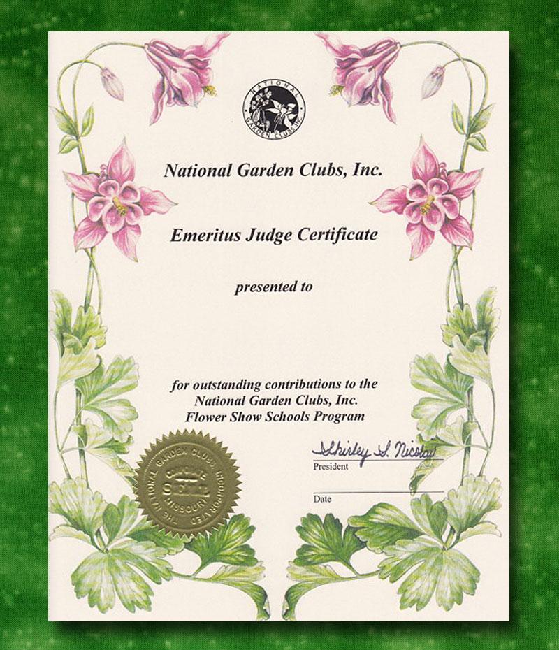 Emeritus Flower Show Judge Certificate