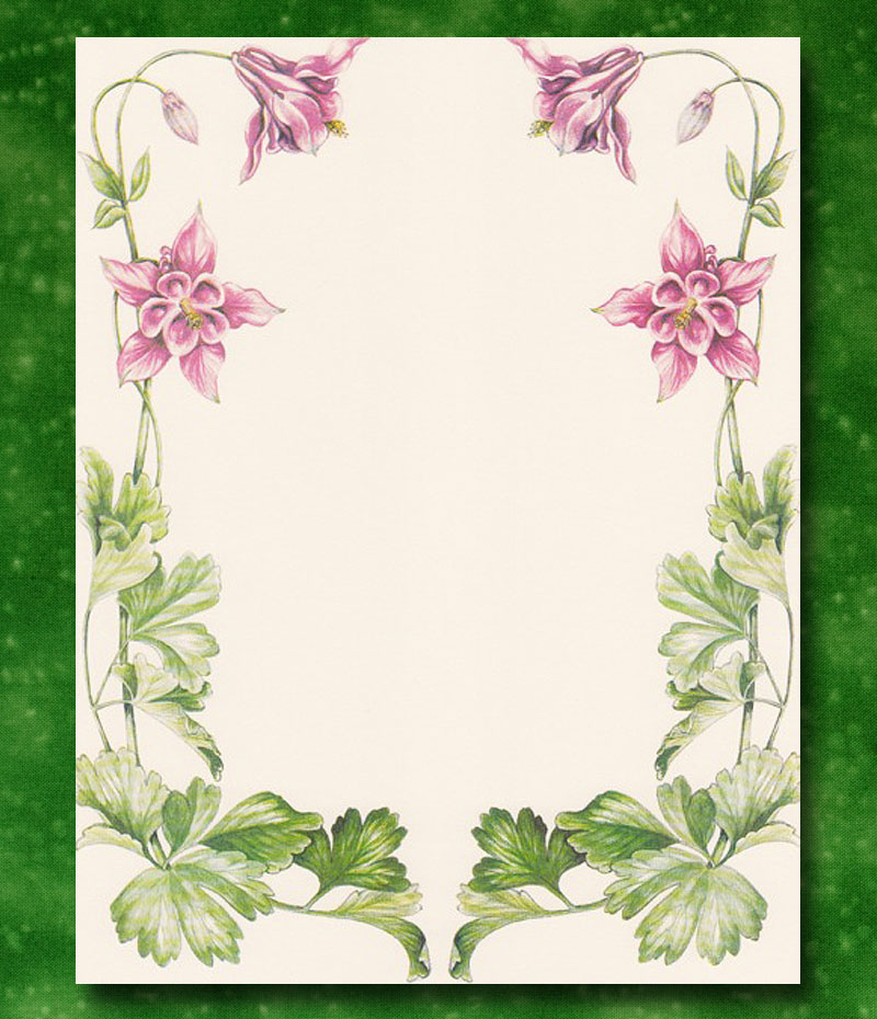 Blank Certificate with Columbine Floral Frame (Pack of 10)