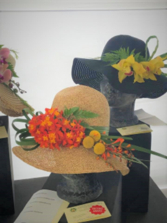Design flowers adorning hats from peru